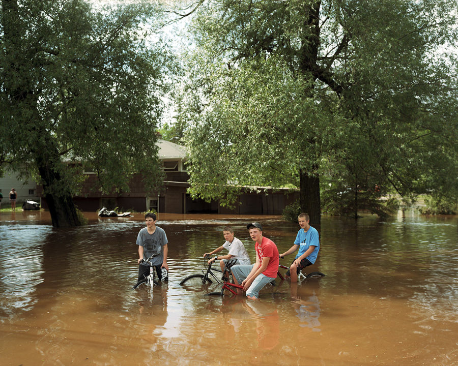 Picture of Bikers In Floodwater, Duluth, Minnesota, June 2012
